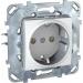 Цены на Электрическая розетка с заземлением винтовой зажим Schneider Electric UNICA белая MGU5.036.18ZD