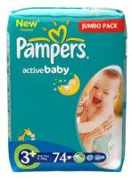 Pampers Active Baby Midi Plus 3+ (74 шт.)