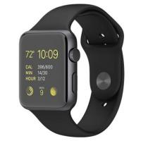 Apple Watch 42mm Space Gray Aluminum Case with Black Sport Band (MJ3T2)