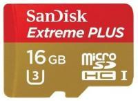 SanDisk 16 GB microSDHC UHS-I U3 Extreme PLUS + SD adapter SDSQXSG-016G-GN6MA